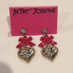 Betsey Johnson Zebra Bow Heart earrings crystals